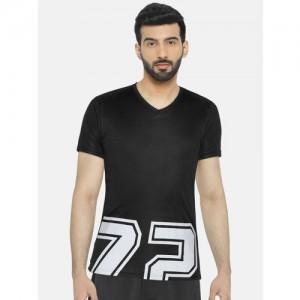 Pepe Jeans Black Printed Slim Fit V Neck T-Shirt