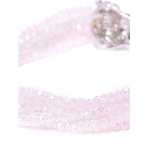 Jewels Galaxy Pink Silver-Plated Beaded Handcrafted Multistrand Bracelet
