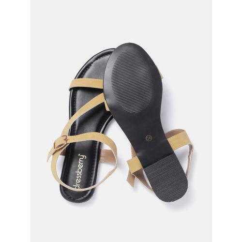 DressBerry Women Mustard Brown Solid Open Toe Flats