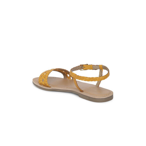 Steve Madden Women Mustard Yellow Solid Leather Open Toe Flats