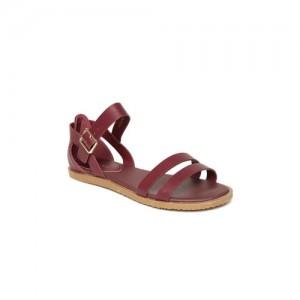 Allen Solly Women Burgundy Solid Open Toe Flats