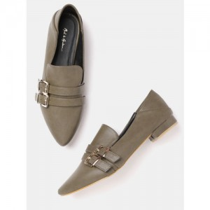 Mast & Harbour Women Olive Green Solid Ballerinas with Buckle Detail