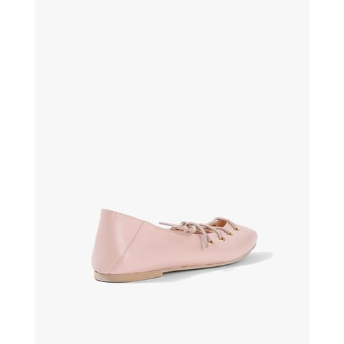 AJIO Pointed-Toe Ballerinas with Lace-Ups