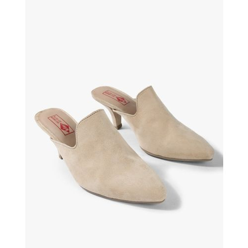 Lee Cooper Textured Pointed-Toe Heeled Mules