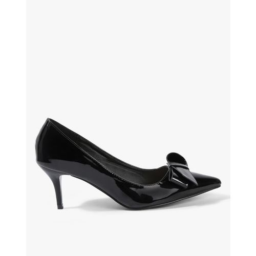 AJIO Pointed-Toe Pumps with Bow Accent