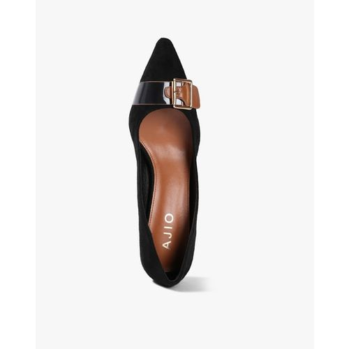AJIO Textured Pointed-Toe Pumps with Buckle Accent