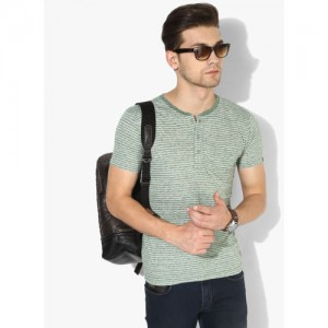 Pepe Jeans Green Striped Slim Fit Henley T-Shirt