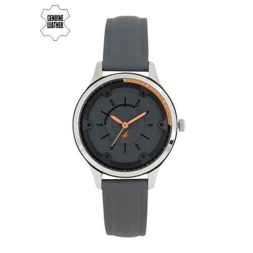 Fastrack Women Grey Leather Analogue Watch NK6138SL02