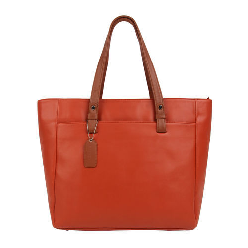 Toteteca Bag Works Orange Leather Solid Shoulder Bag