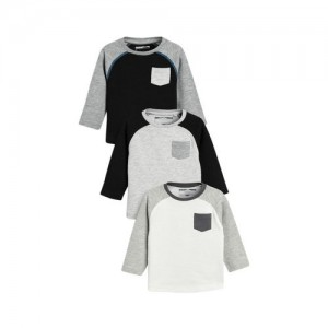 next Boys Pack of 3 Solid Round Neck T-shirts