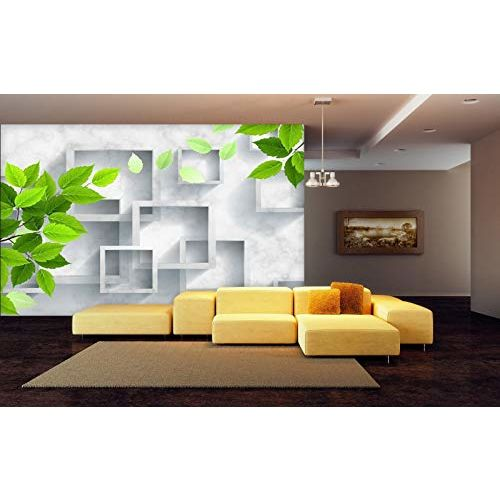 999store 3D Green Leaves and Square Frames Wallpaper (Non-Wooven_Parent_Multi)