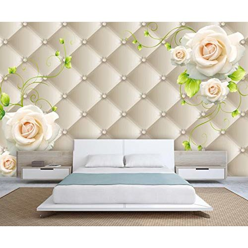 999store 3D White Flowers and Green Leaves Wallpaper (Non-Wooven_Parent_Multi)