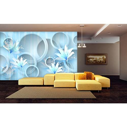 999store 3D White and Blue Flowers Pattern Wallpaper (Non-Wooven_Parent_Multi)
