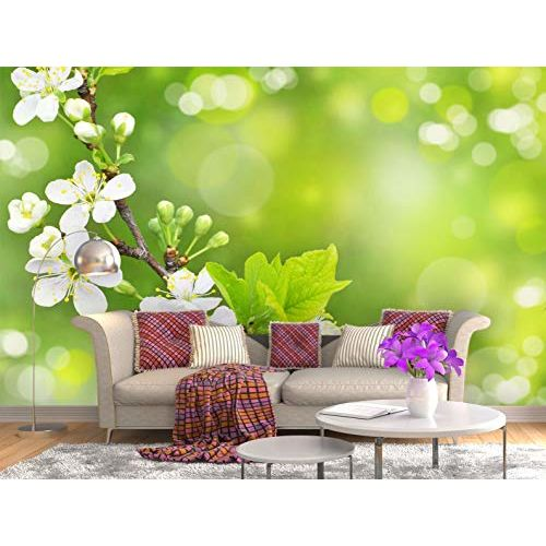 999Store Hd White Flowers with Green Leaves Wallpaper (Non-Wooven_Parent_Multi)