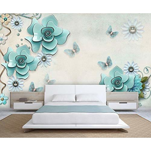 999Store 3D Blue Flowers and Butterfly Wallpaper (Non-Wooven_Parent_Multi)