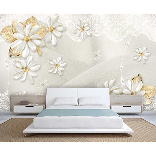 999Store 3D White Flowers and Golden Leaves Wallpaper (Non-Wooven_Parent_Multi)