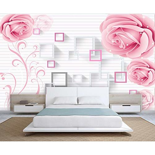 999Store 3D Pink Roses with Square Frames Wallpaper (Non-Wooven_Parent_Multi)