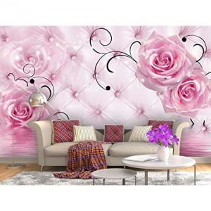 999Store 3D Pink Roses Wallpaper (Non-Wooven_Parent_Multi)