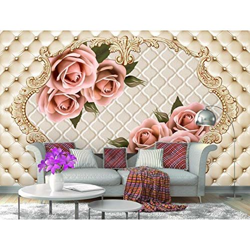 999Store 3D Pink Roses with Green Leaves Wallpaper (Non-Wooven_Parent_Multi)