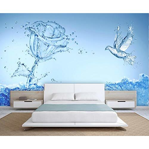 999Store 3D Watery Rose and Flying Bird Wallpaper (Non-Wooven_Parent_Multi)