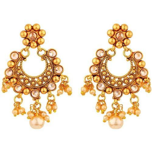 Voylla Voylla Golden Reprise Heavily Embellished Earrings Pearl Brass Dangle Earring