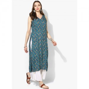 Global Desi Blue & Red Printed Straight Kurta