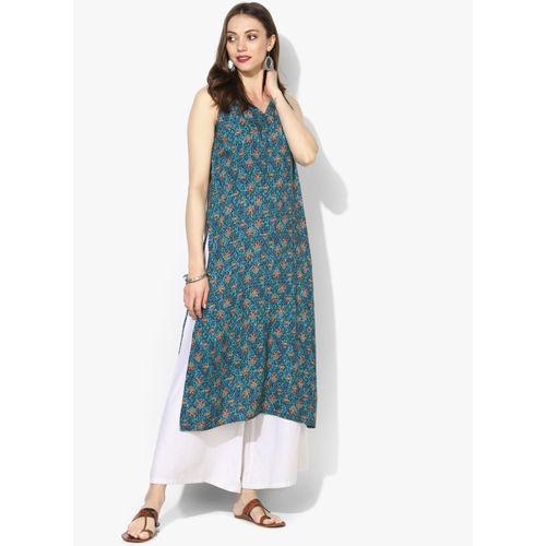 Global Desi Blue & Red Printed Straight Kurta