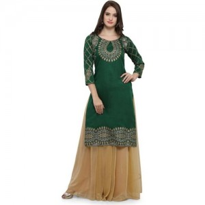 Ahalyaa Green Dupion Self Design Straight Kurta