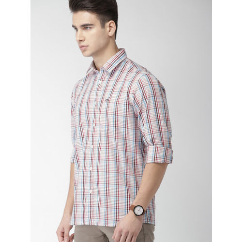 Arrow Sport Men White & Red Slim Fit Checked Casual Shirt