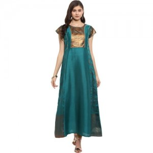 Ahalyaa Green Polyester Self Design A-line Kurta