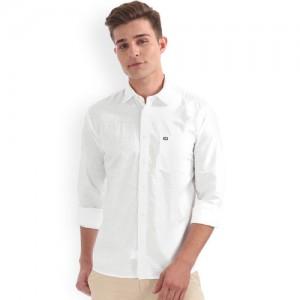 Arrow Sport Men White Regular Fit Solid Casual Shirt