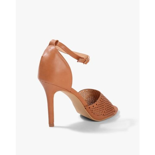 AJIO Laser-Cut Heeled Sandals with Ankle-Strap