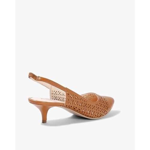 AJIO Laser-Cut Kitten Heels with Slingback