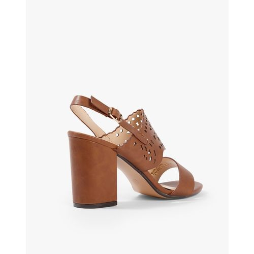 AJIO Chunky Heels with Cut-Out Mid-Foot Strap