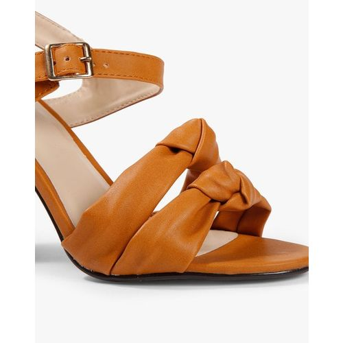 AJIO Strappy Chunky Heels with Buckle Closure