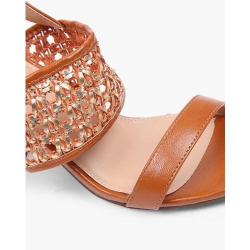 AJIO Block-Heeled Slingback Sandals