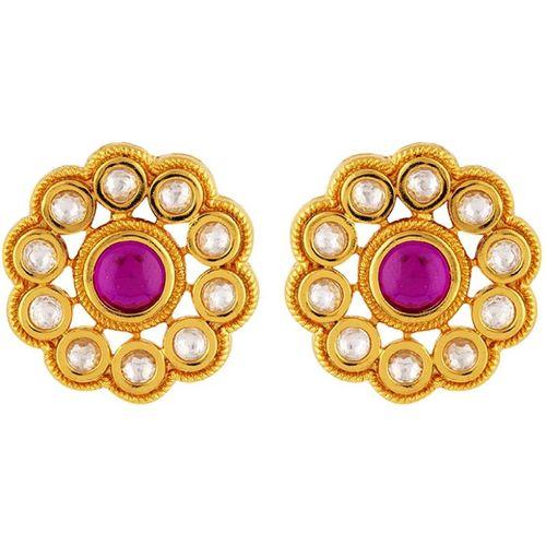 523df644b Buy Voylla Kundan Stanza Floral Gem Studded Earrings Brass Stud Earring  online | Looksgud.in