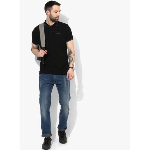 Buy Pepe Jeans Black Regular Fit Cotton Polo T Shirt online