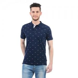 Pepe Jeans Printed Men's Polo Neck Dark Blue T-Shirt