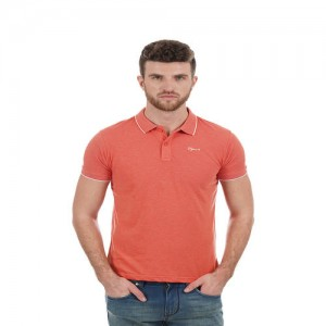 Pepe Jeans Orange Cotton Solid Slim Fit Casual Polo T-Shirt