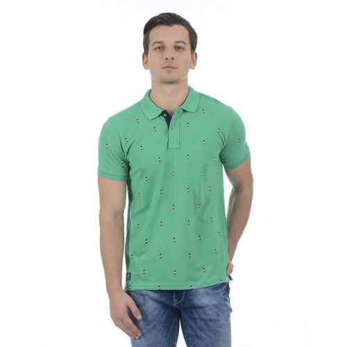Pepe Jeans Printed Men Polo Neck Green T-Shirt