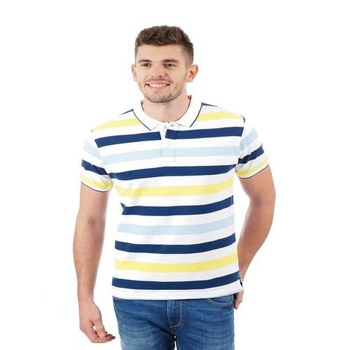 6e87d173aa6 Buy Pepe Jeans Blue & Yellow Regular Fit Polo T-Shirt online ...