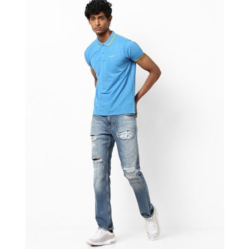 Pepe Jeans Royal Blue Cotton Slim Fit Casual Polo T-Shirt