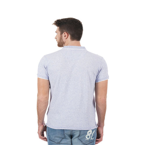 Pepe Jeans Gray Cotton Solid Slim Fit Casual Polo T-Shirts