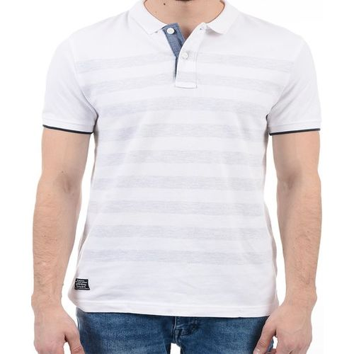 Pepe Jeans Off-White Striped Cotton Polo T-Shirt