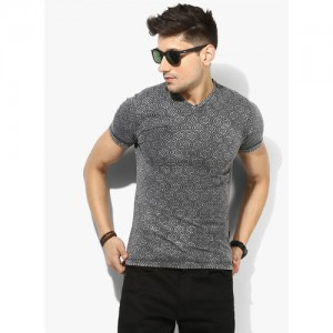 Pepe Jeans Grey Printed Slim Fit V Neck T-Shirt
