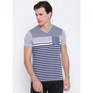 Pepe Jeans Grey Melange Striped V-Neck T-Shirt