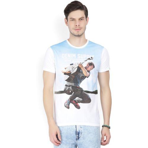 Pepe Jeans Printed Men's Round Neck Light Blue, White T-Shirt