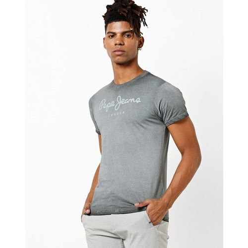 Pepe Jeans Washed Crew-Neck T-shirt with Typography