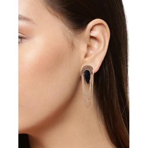 Shining Diva Fashion Black Gold Stylish Fancy Party Wear Earrings